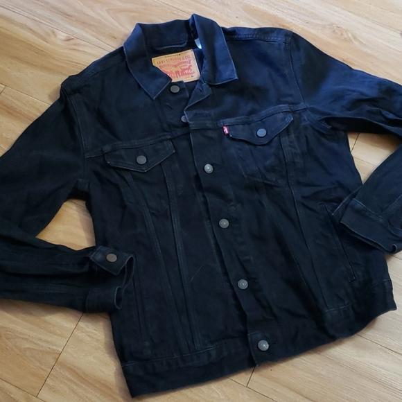 Levi's Black Distressed Denim Jacket Sz M